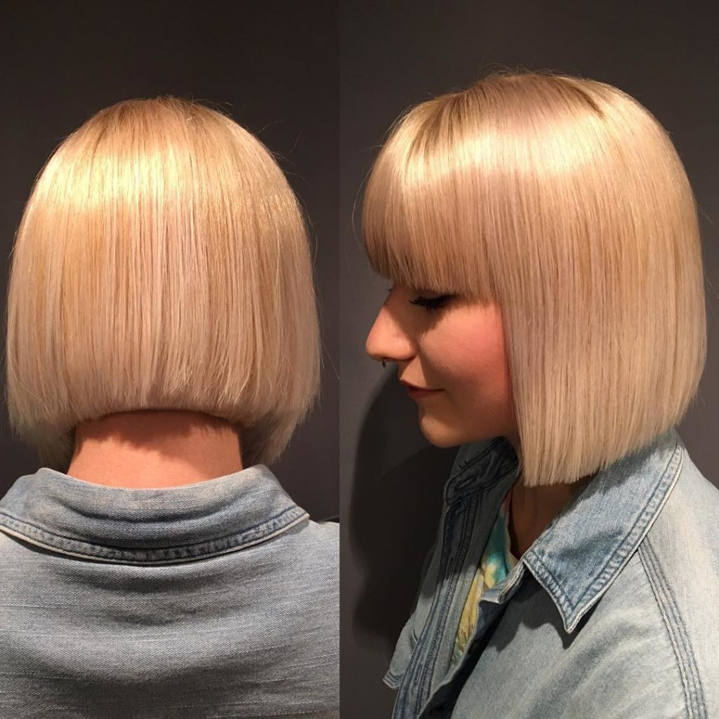 Women's Blunt Platinum Bob With Blunt Bangs Intended For Blonde Blunt Haircuts Bob With Bangs (View 12 of 20)