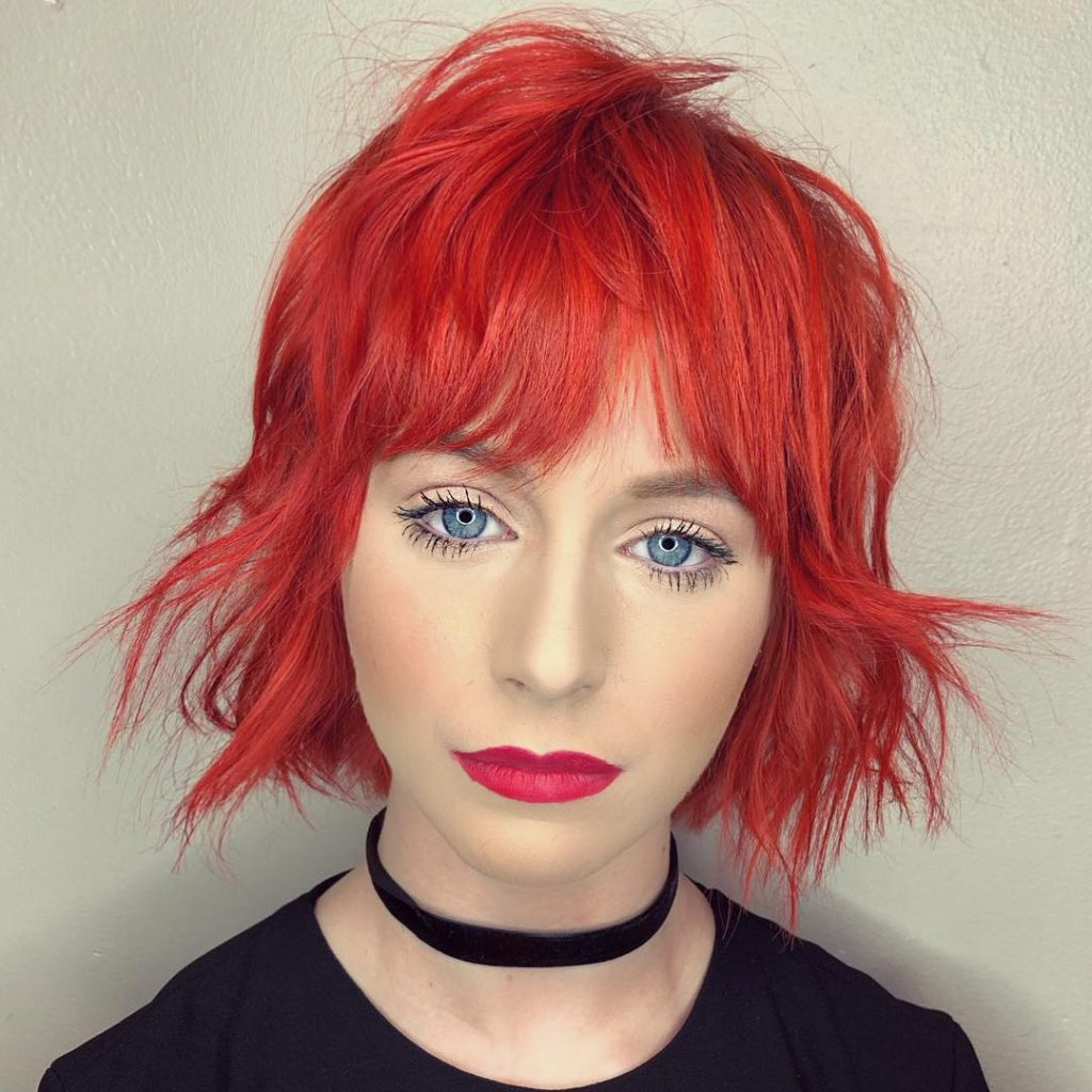 Women's Bold Shaggy Bob With Bent Messy Texture And Bright With Regard To Bright Bob Hairstyles (Gallery 14 of 20)