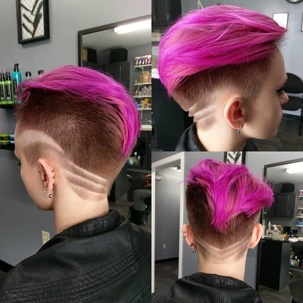 Women's Bright Pink Backcombed Undercut Pixie With Rose Intended For Trendy Pixie Haircuts With Vibrant Highlights (View 17 of 20)