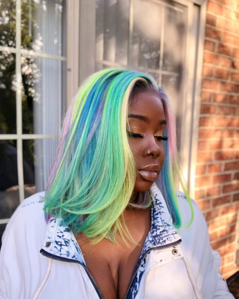 Women's Long Blunt Bob With Side Swept Blowout Texture And For Rainbow Bob Haircuts (Gallery 9 of 20)