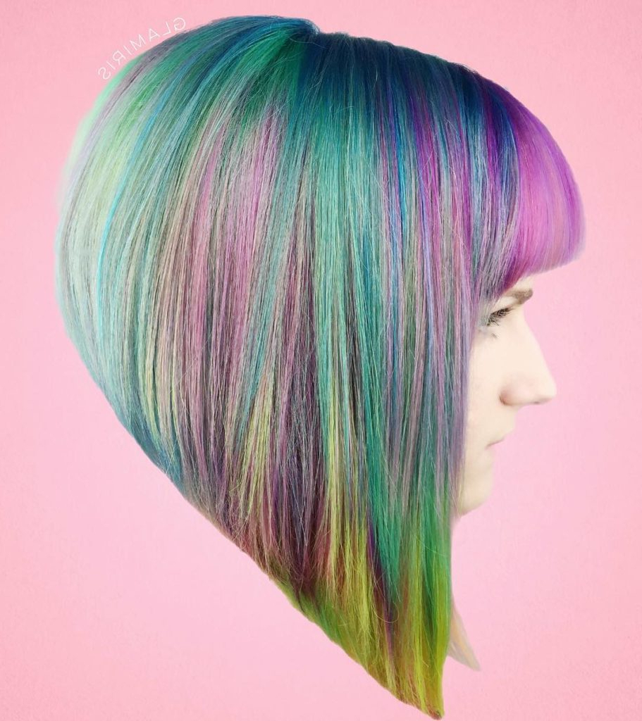 Women's Short Blunt Sharp Angled Bob With Full Bangs And With Rainbow Bob Haircuts (Gallery 17 of 20)
