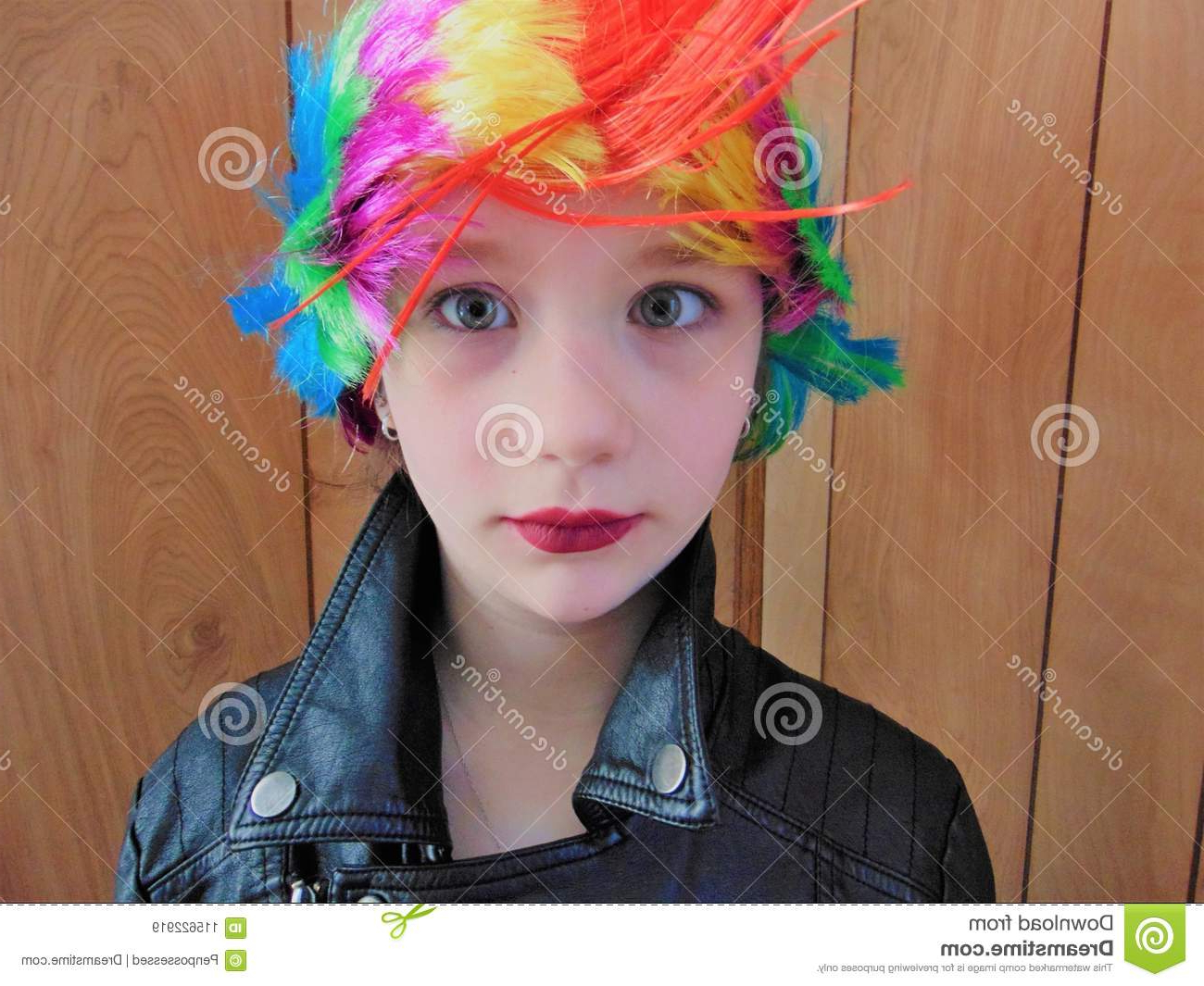Young Punk Rocker Chick With Rainbow Mohawk Stock Image In Most Popular Rocker Girl Mohawk Hairstyles (View 20 of 20)