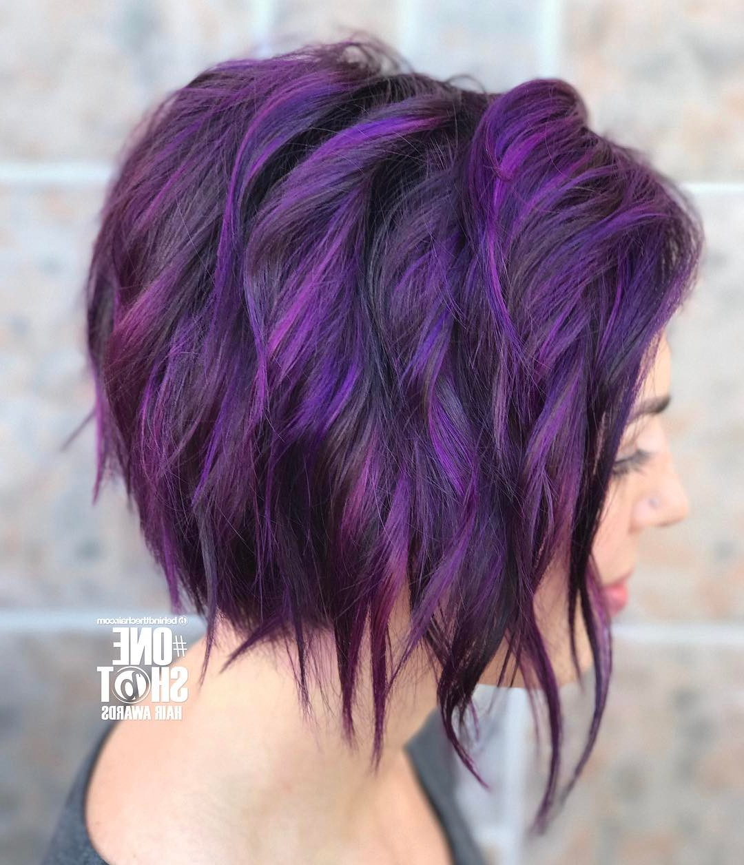 10 Chic Short Bob Haircuts That Balance Your Face Shape! For Purple Tinted Off Centered Bob Hairstyles (Gallery 13 of 20)