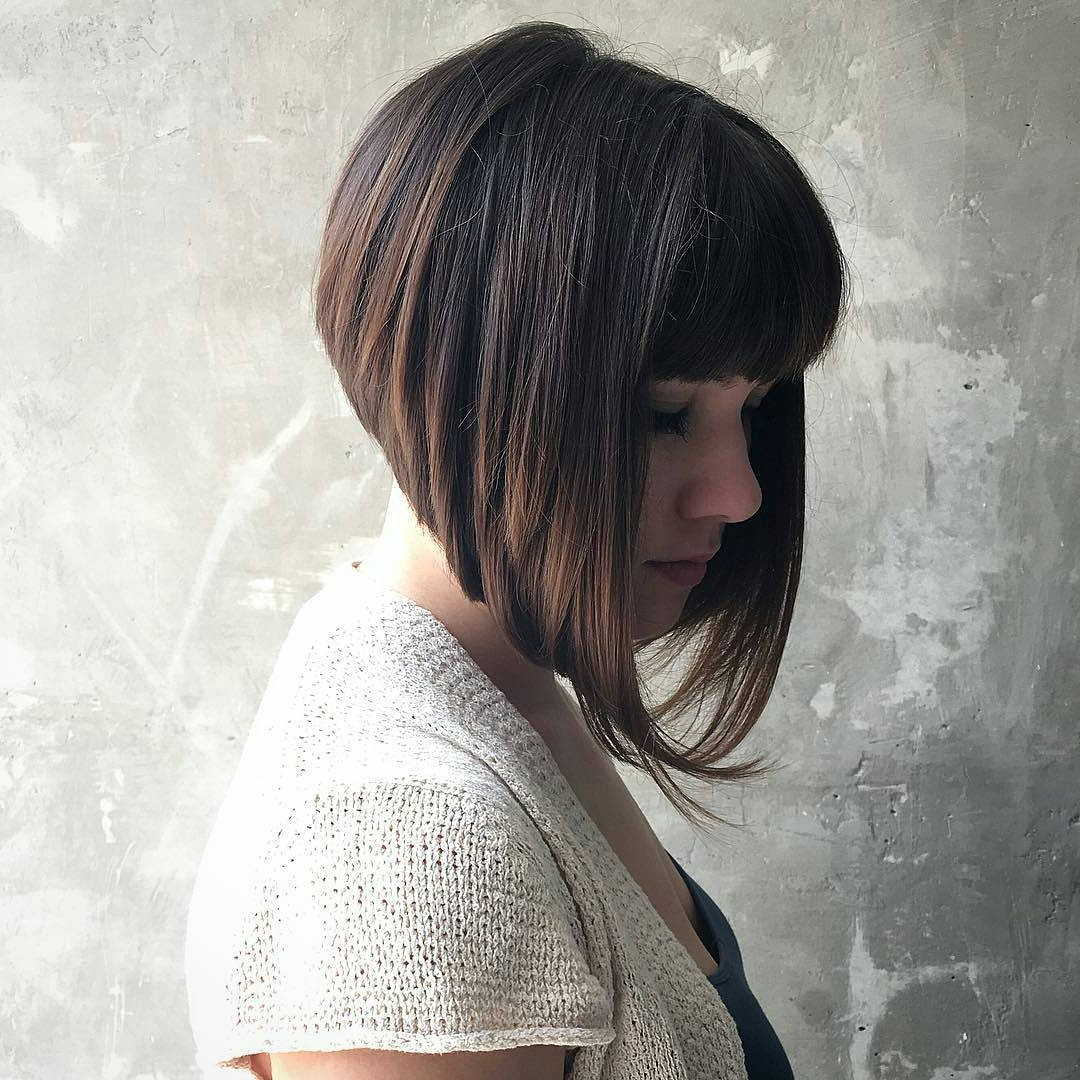 10 Modern Bob Haircuts For Well Groomed Women: Short With A Line Bob Hairstyles With Arched Bangs (Gallery 19 of 20)
