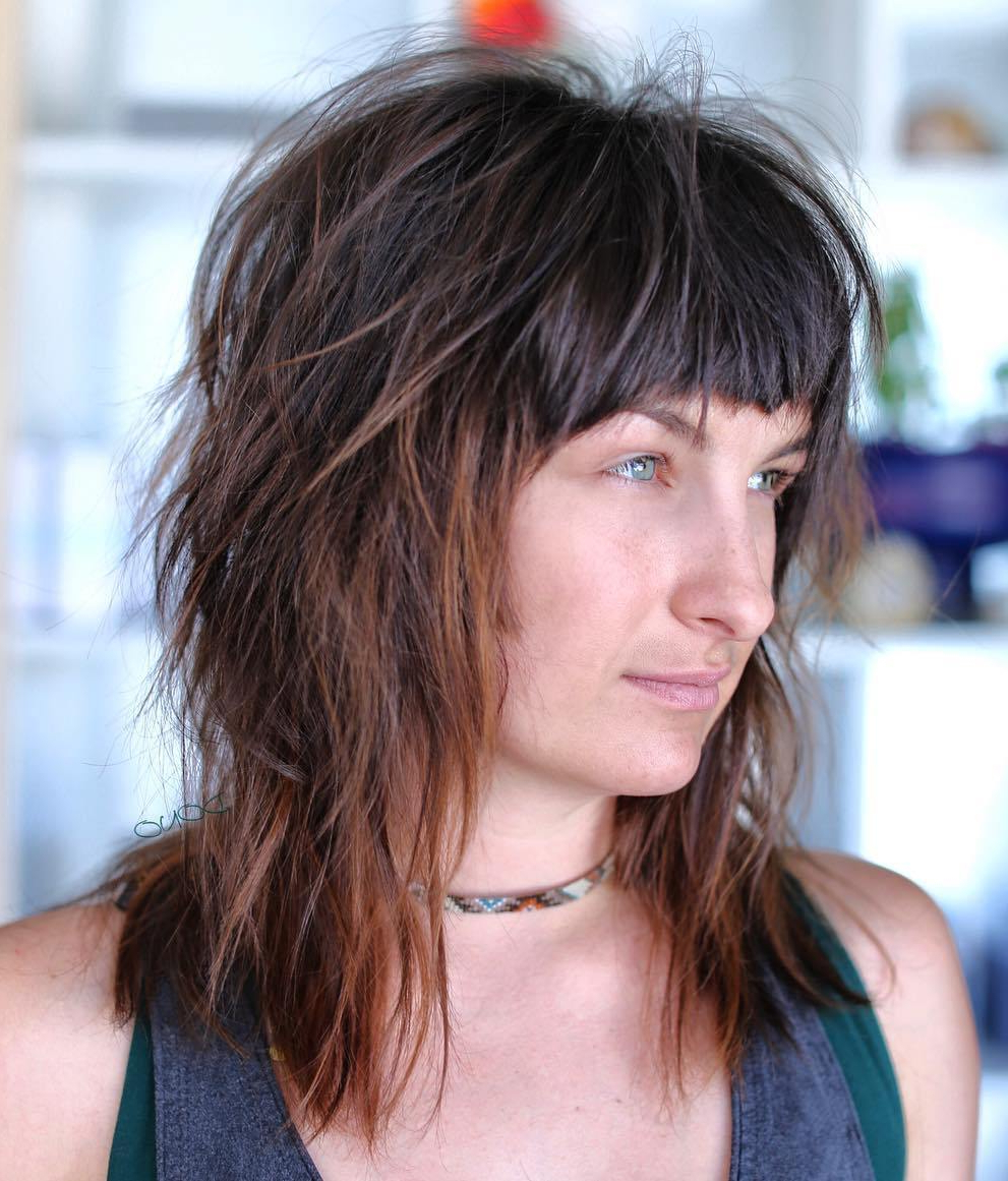 2017 Black Shag Haircuts With Feathered Bangs Intended For 40 Modern Shag Haircuts For Women To Make A Splash (View 14 of 20)