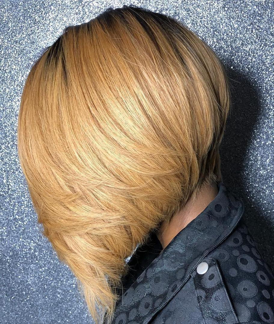 2017 Feathered Golden Brown Bob Hairstyles With Regard To 50 Impossible To Miss Bob Hairstyles For Black Women – Hair (View 9 of 20)