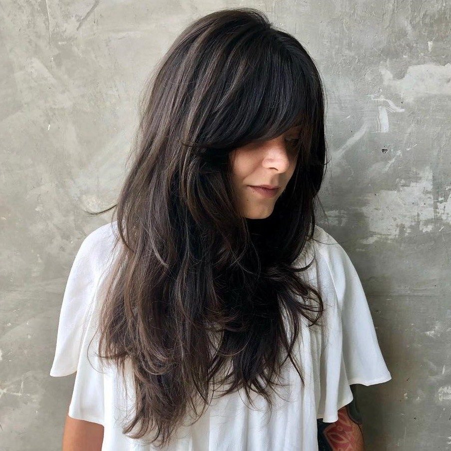 2017 Long Wispy Brunette Shag Haircuts Pertaining To Pin On Hair (View 10 of 20)