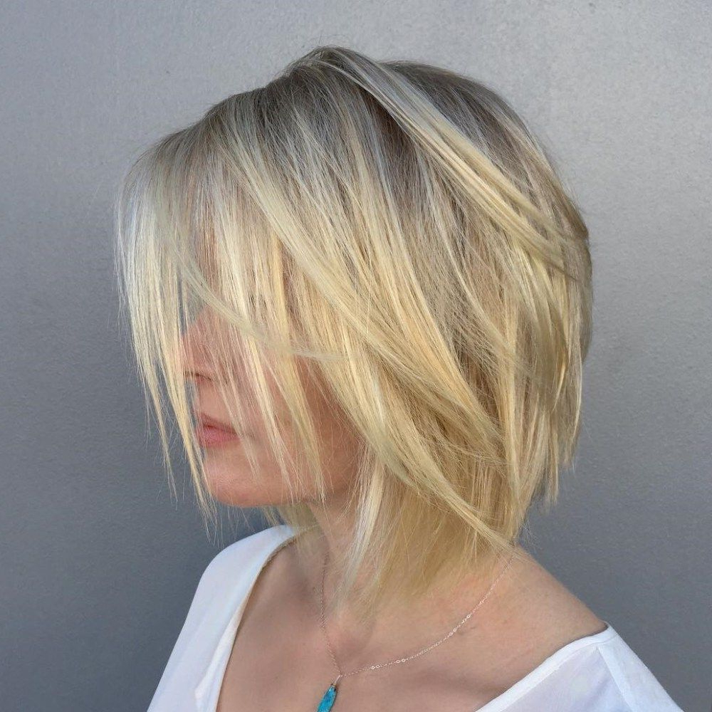 2017 Razored Blonde Bob Haircuts With Bangs With 60 Beautiful And Convenient Medium Bob Hairstyles (View 2 of 20)