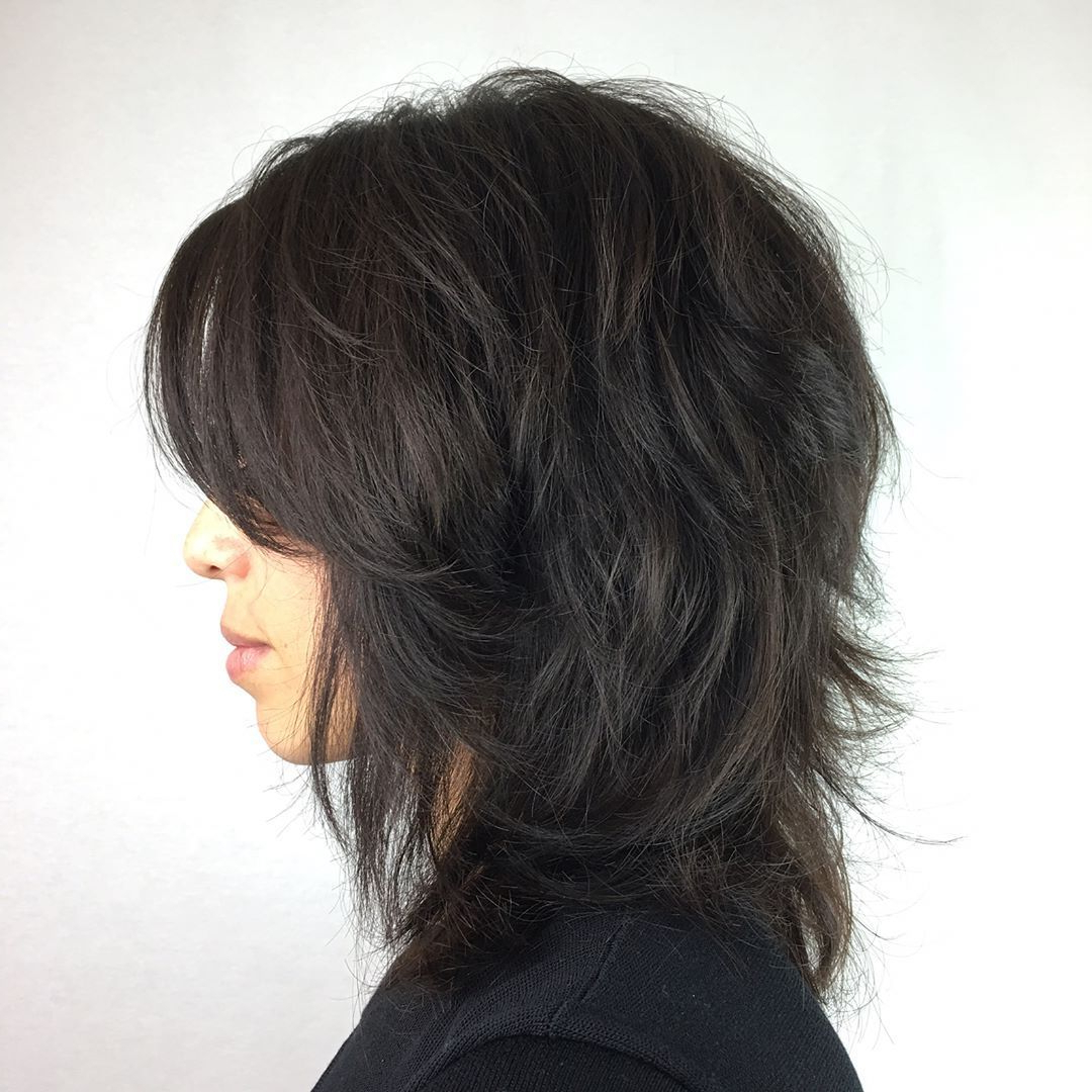 2018 Black Shag Haircuts With Feathered Bangs Pertaining To Pin On Hair (View 2 of 20)
