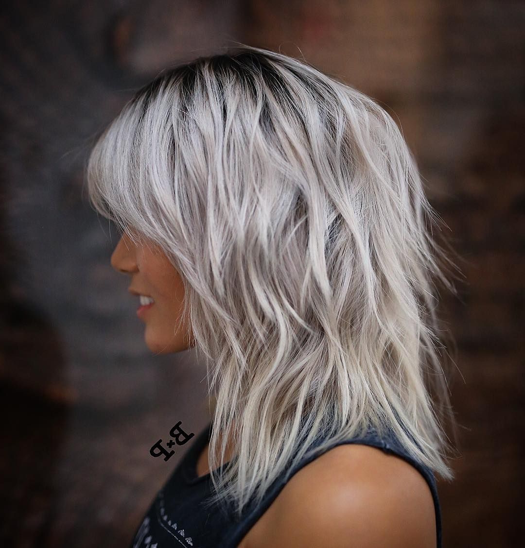 2018 Blonde Choppy Haircuts For Medium Hair Pertaining To Shoulder Length Wavy/messy Gray/ice Blonde Hair With Layers (View 3 of 20)