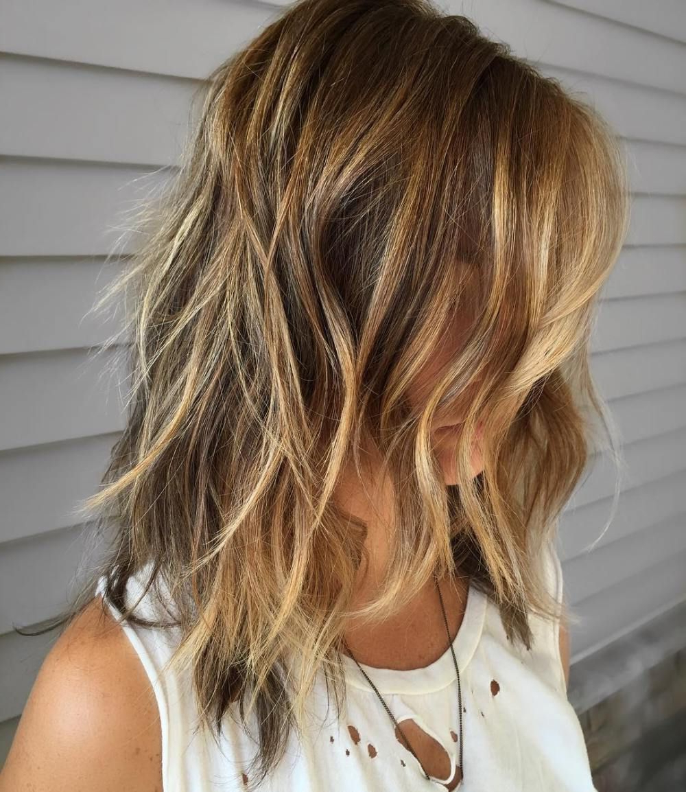 2018 Longer Tousled Caramel Blonde Shag Haircuts Pertaining To Pin On Hair Ideas (View 8 of 20)