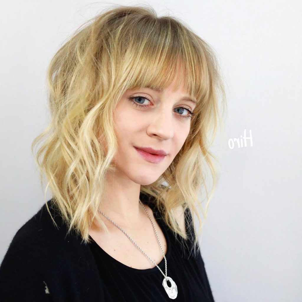 2018 Thick Feathered Blonde Lob Hairstyles Regarding Women's Bright Blonde Layered Lob With Full Feathered Fringe (View 8 of 20)