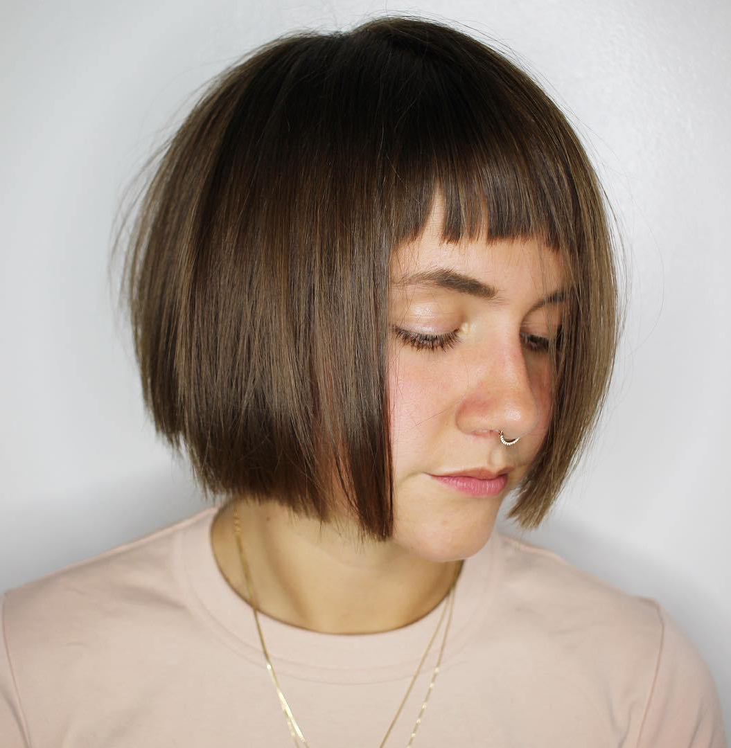 2019 Wispy Straight Finely Chopped Brunette Haircuts Throughout The Most Instagrammable Hairstyles With Bangs In (View 3 of 20)