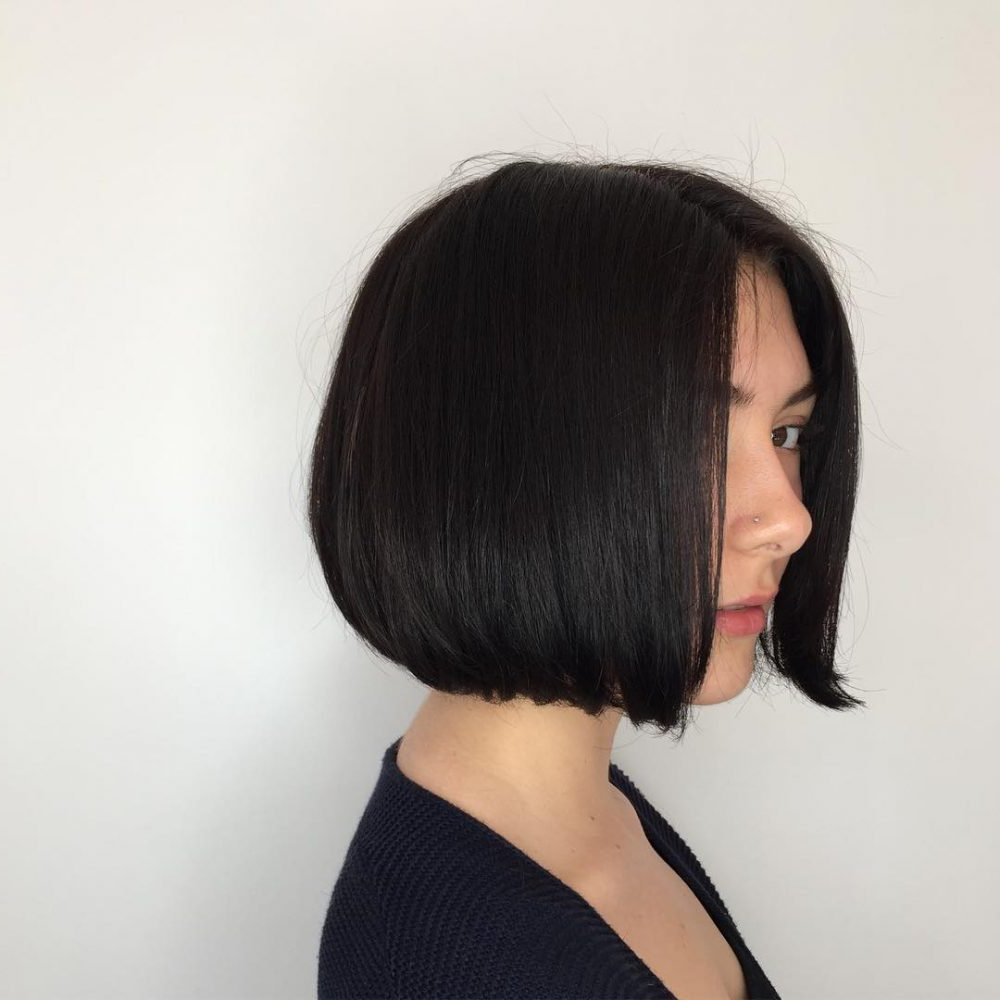 25 Chin Length Bob Hairstyles That Will Stun You In 2019 With Simple Side Parted Jaw Length Bob Hairstyles (View 11 of 20)
