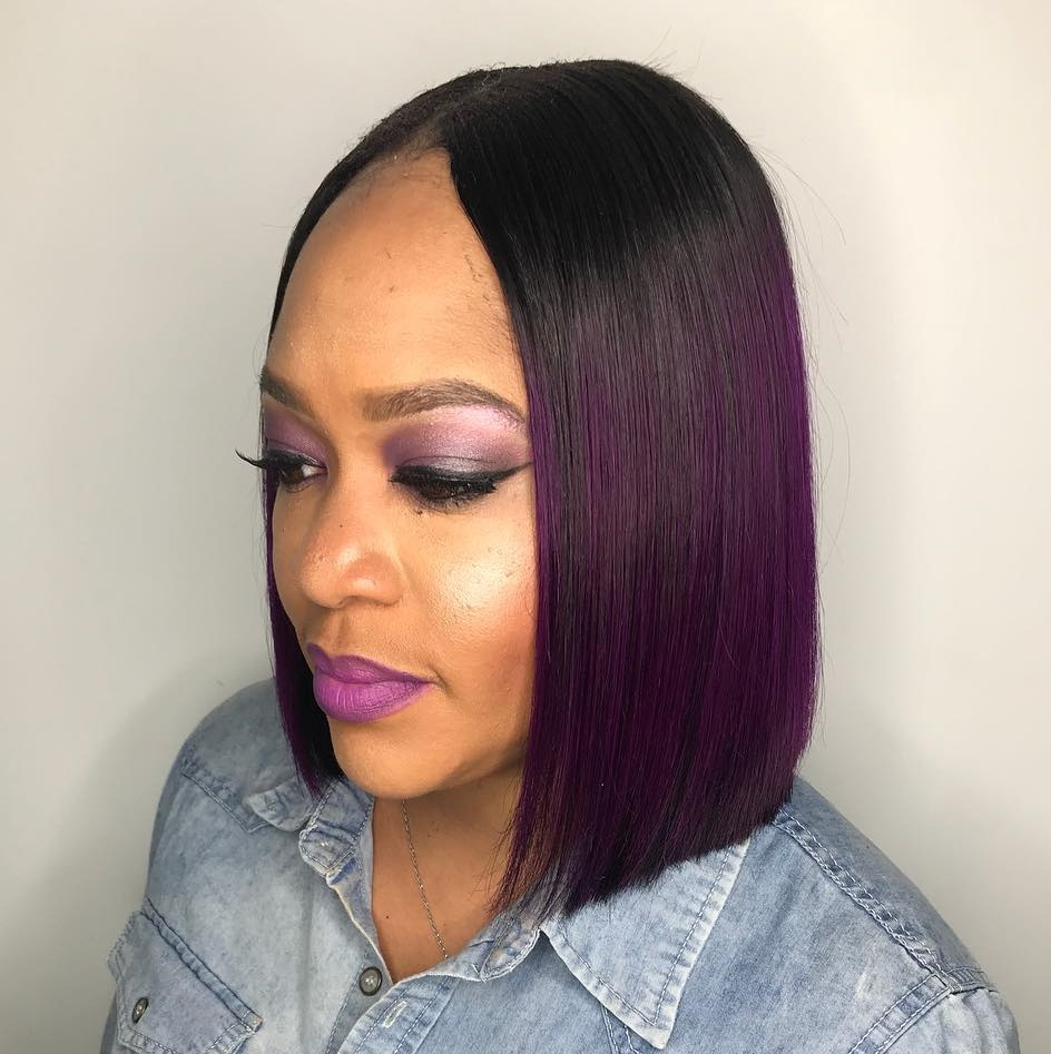 30 Flattering Hairstyles For Long Faces You'll Want To Try Throughout Purple Tinted Off Centered Bob Hairstyles (View 11 of 20)