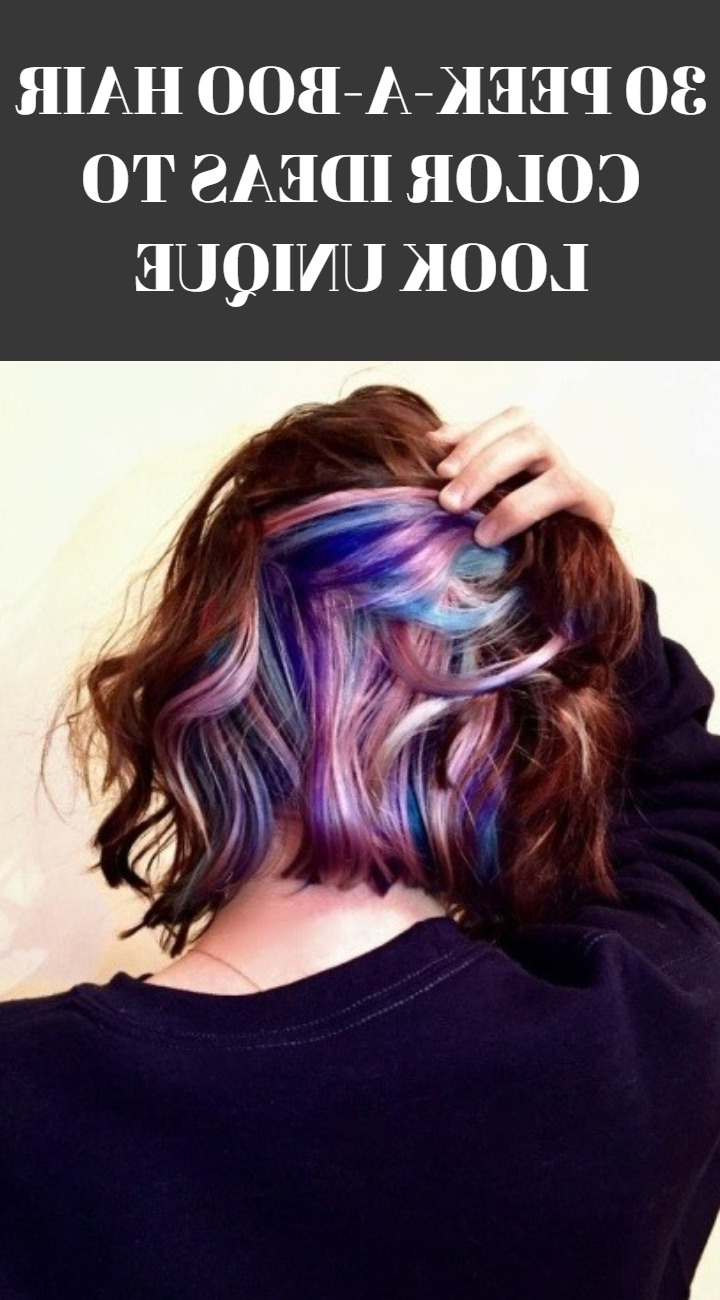 30 Peek A Boo Hair Color Ideas To Look Unique | Hairdo Hairstyle Within Short Shag Haircuts With Purple Highlights (View 5 of 20)