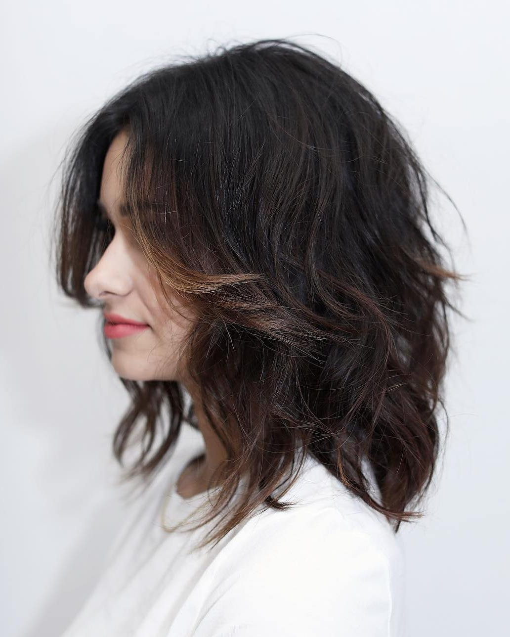 35 Killer Ways To Work Long Bob Haircuts For 2019 Throughout Trendy Layered And Tousled Brunette Hairstyles (Gallery 12 of 20)
