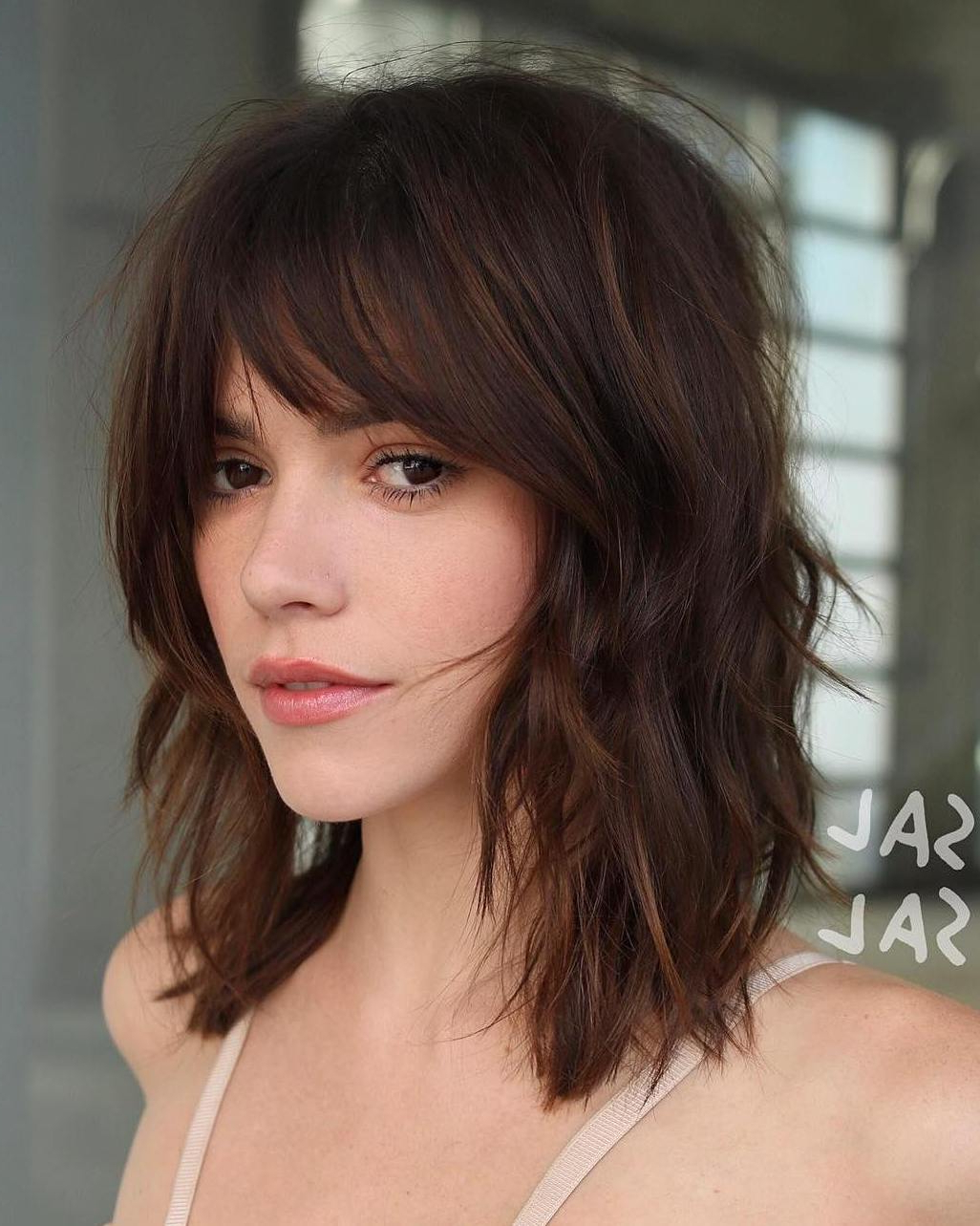 35 Killer Ways To Work Long Bob Haircuts For 2019 Within Feathered Haircuts With Angled Bangs (View 10 of 20)