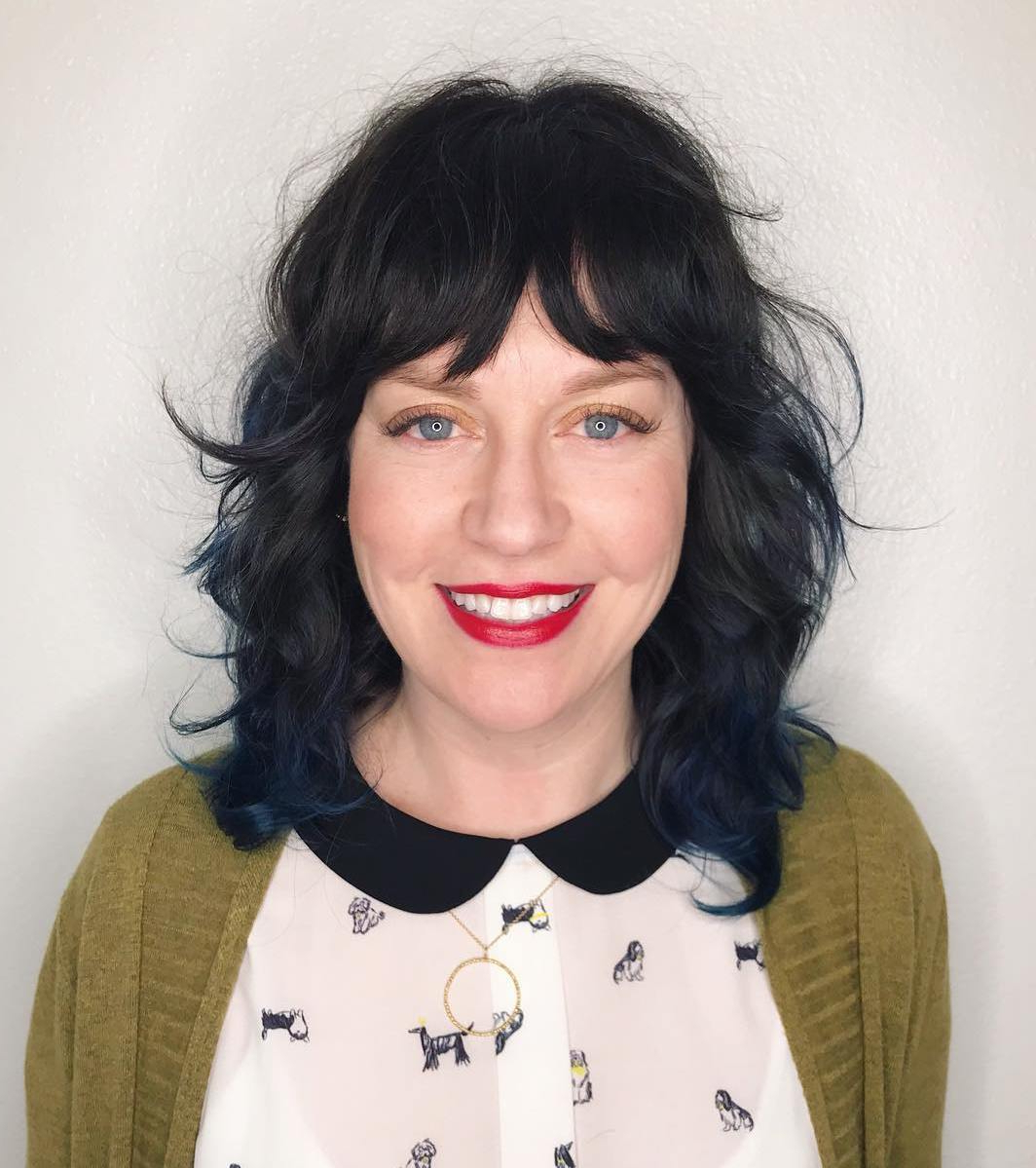 40 Medium Length Hairstyles For Thick Hair ⋆ Palau Oceans Intended For Recent Razored Black Shag Haircuts With Bangs (View 2 of 20)
