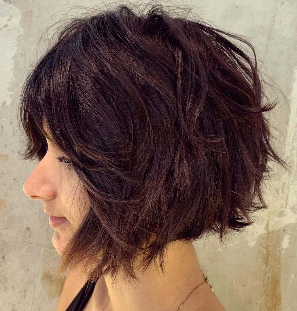 40 Short Hairstyles For Thick Hair (trendy In 2019 2020 For Slightly Angled Messy Bob Hairstyles (View 7 of 20)