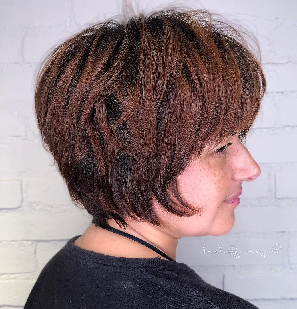 40 Short Hairstyles For Thick Hair (trendy In 2019 2020 Throughout Gray Pixie Haircuts With Messy Crown (View 15 of 20)