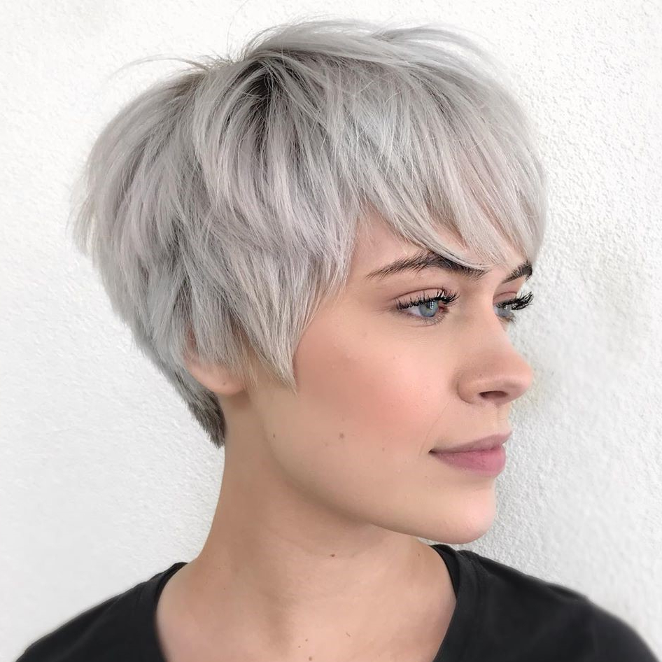 40 Short Hairstyles For Thick Hair (trendy In 2019 2020 Within Best And Newest Razored Gray Bob Hairstyles With Bangs (View 6 of 20)