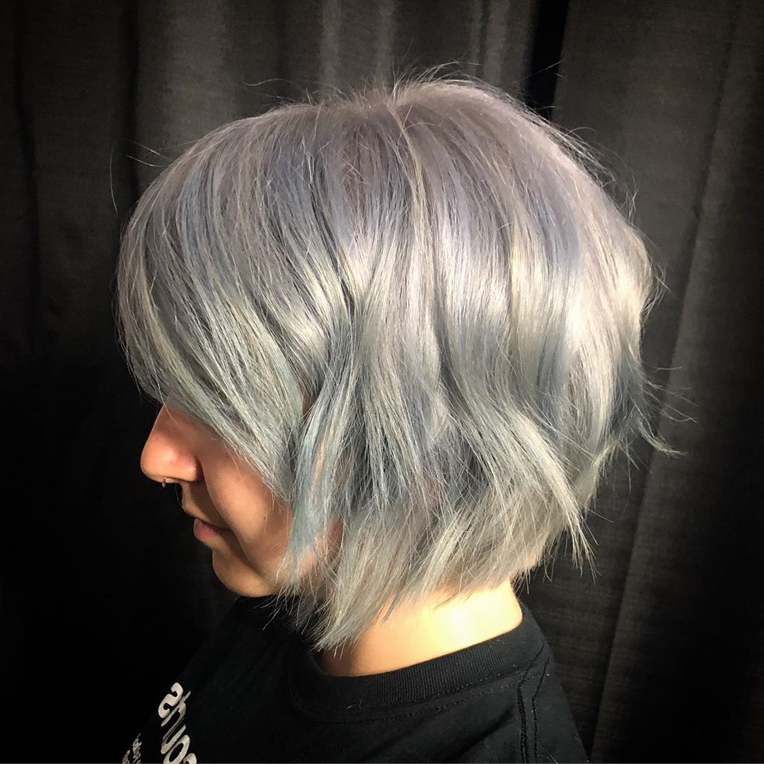 40+ Silver Hair Color Ideas & 2019 Trends: Highlights Within Dusty Lavender Short Shag Haircuts (View 8 of 20)