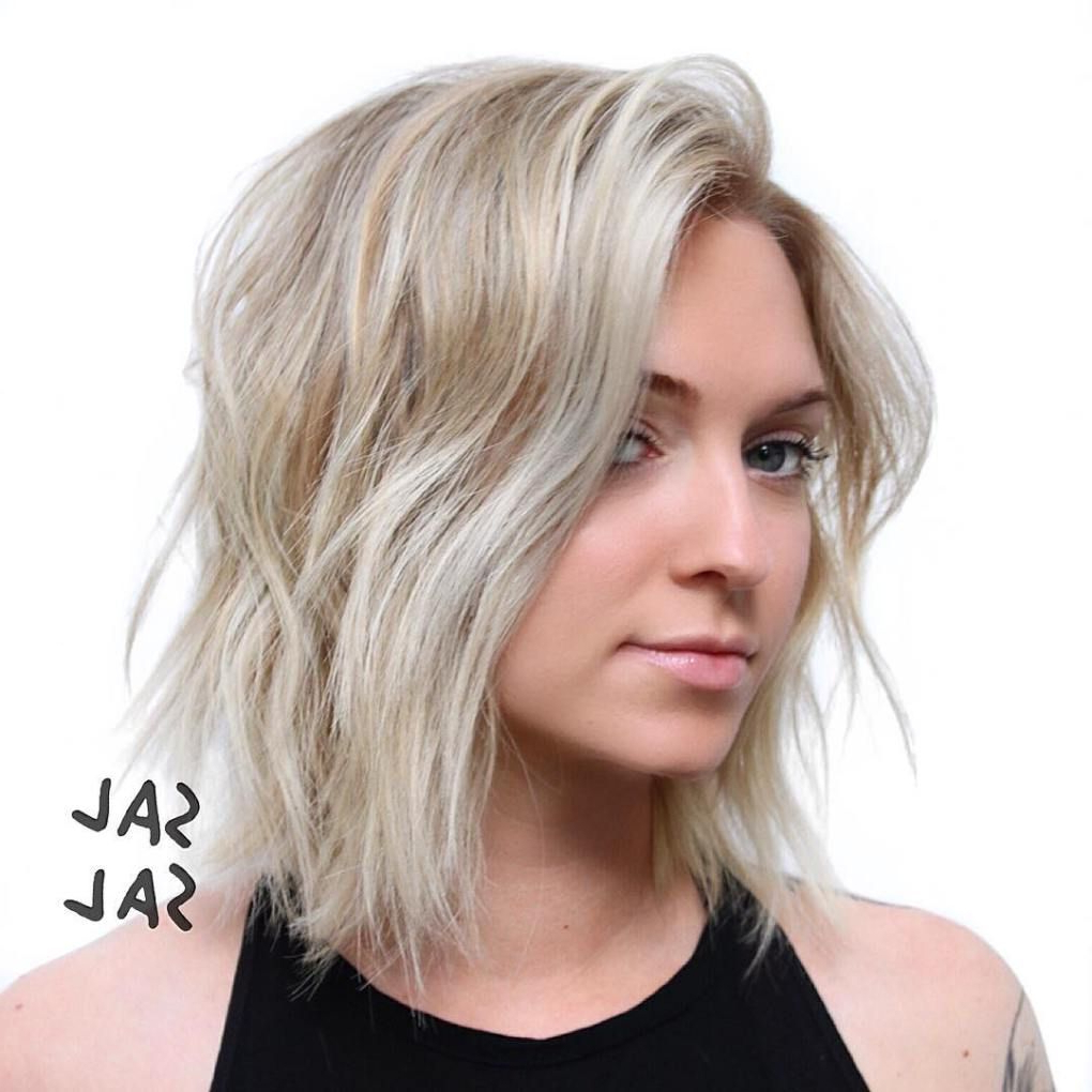 40 Stunning Medium Hairstyles For Round Faces | Hair | Short With Regard To Shaggy Blonde Bob Hairstyles With Bangs (View 2 of 20)