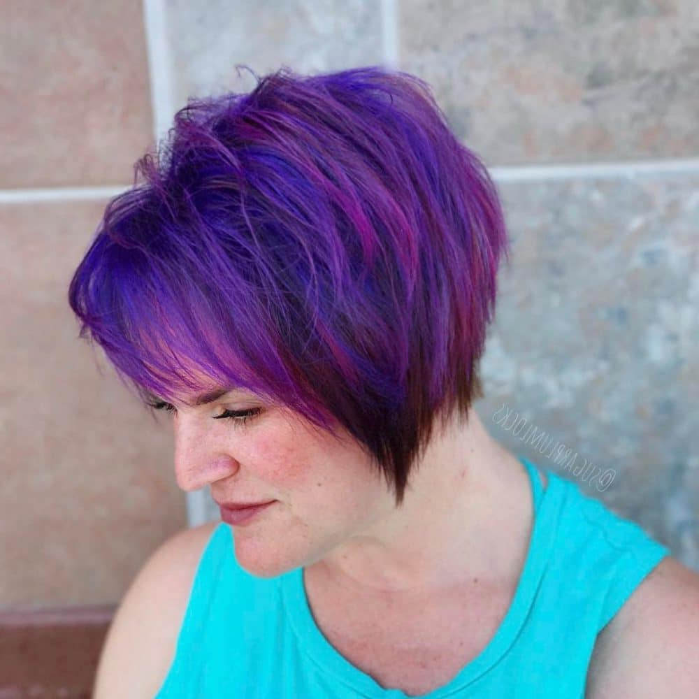 43 Youthful Short Hairstyles For Women Over 50 (With Fine In Short Shag Haircuts With Purple Highlights (View 6 of 20)