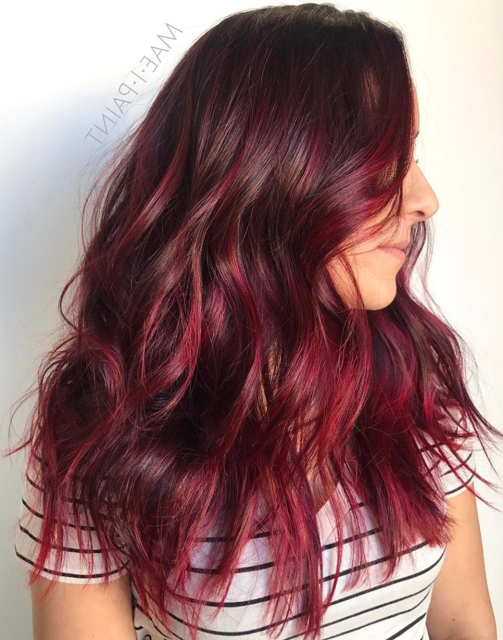 45 Shades Of Burgundy Hair: Dark Burgundy, Maroon, Burgundy Within Vibrant Burgundy Shag Haircuts (View 5 of 20)