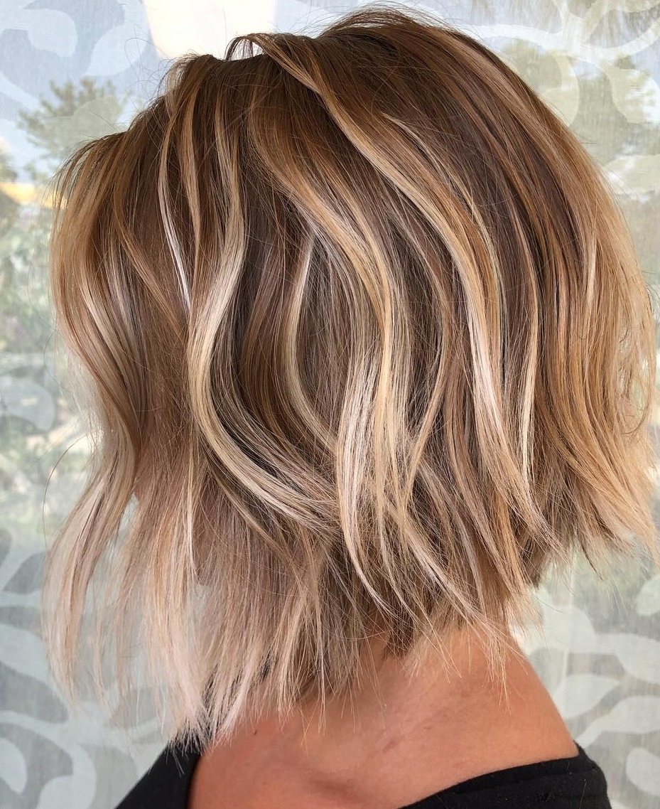 45 Short Hairstyles For Fine Hair To Rock In 2019 For Popular Shiny Caramel Layers Long Shag Haircuts (View 3 of 20)