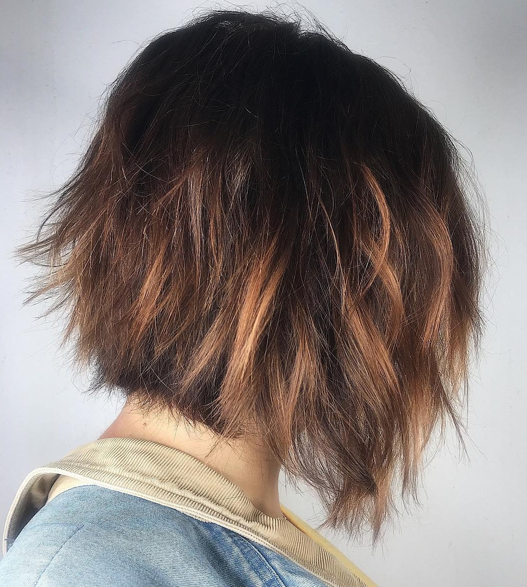 45 Short Hairstyles For Fine Hair To Rock In 2019 For Tapered Shaggy Chocolate Brown Bob Hairstyles (View 14 of 20)