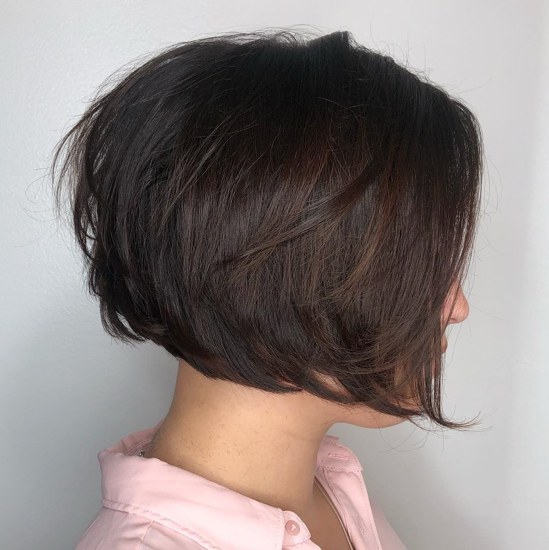 45 Short Hairstyles For Fine Hair To Rock In 2019 Regarding Purple Tinted Off Centered Bob Hairstyles (View 17 of 20)