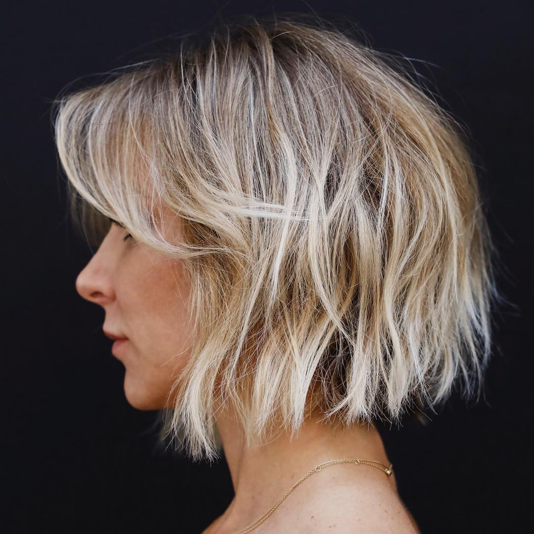 45 Short Hairstyles For Fine Hair To Rock In 2019 With Trendy Razored Blonde Bob Haircuts With Bangs (View 3 of 20)