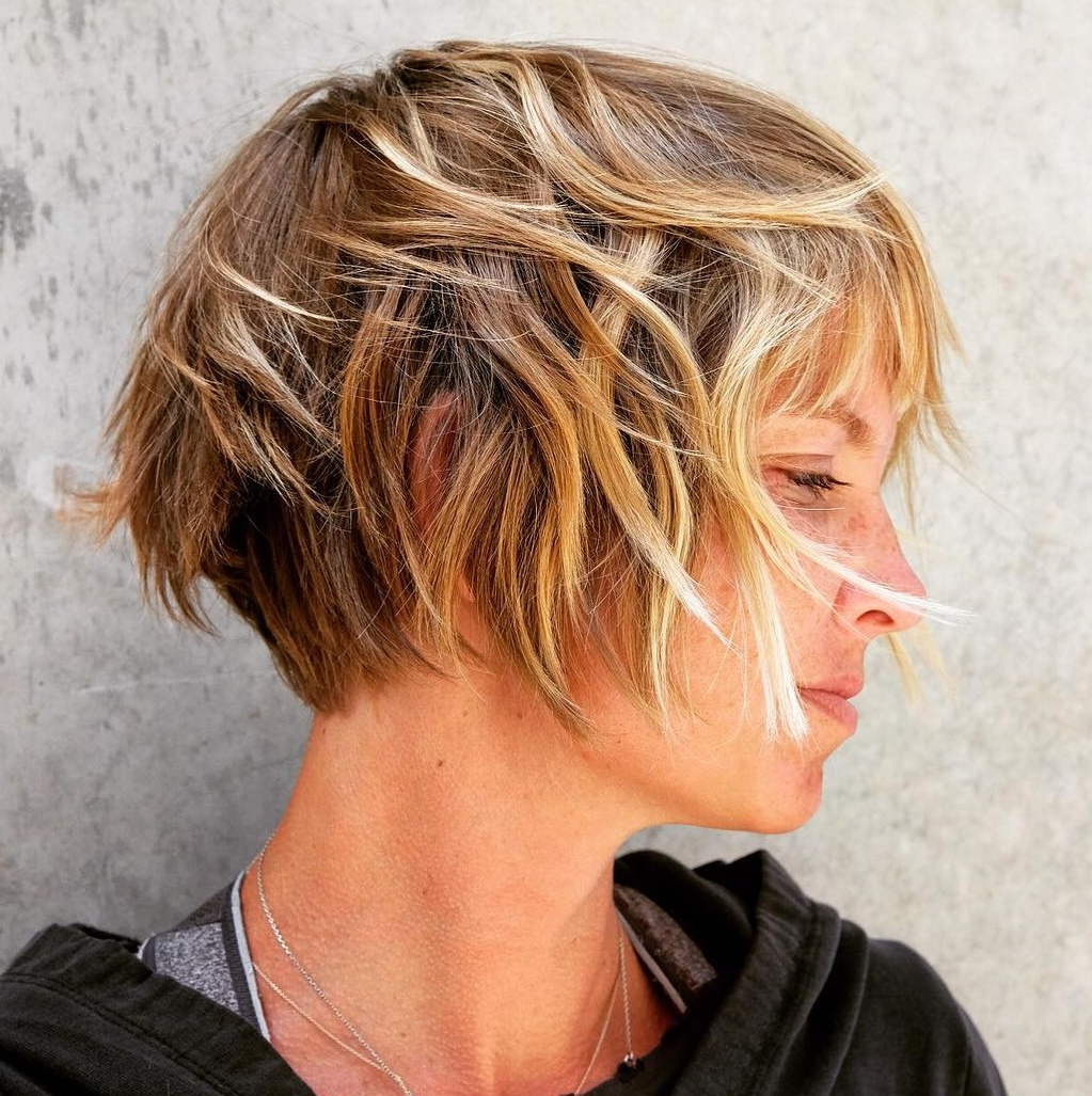45 Short Hairstyles For Fine Hair To Rock In 2019 Within Jaw Length Choppy Bob Hairstyles With Bangs (View 13 of 20)