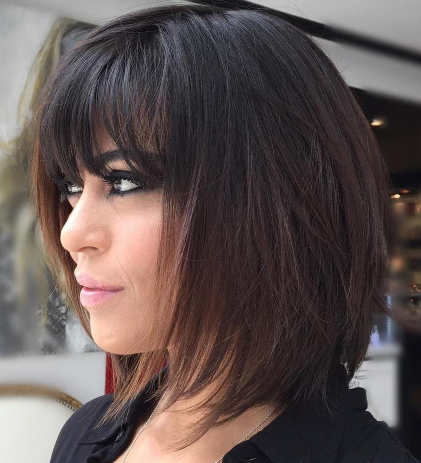 47 Medium Length Haircuts With Bangs – Eazy Glam With Well Known Medium Length Haircuts With Full Bangs (View 4 of 20)