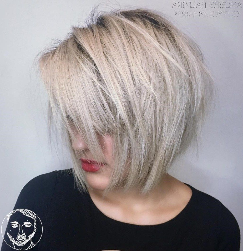 50 Classy Short Bob Haircuts And Hairstyles With Bangs In With Regard To Choppy Ash Blonde Bob Hairstyles (View 3 of 20)