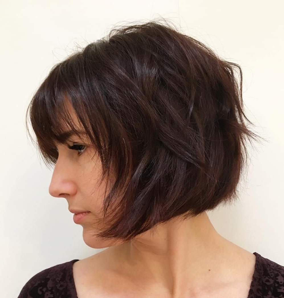 50 Classy Short Bob Haircuts And Hairstyles With Bangs Pertaining To Chin Length Chocolate Bob Shag Haircuts (View 2 of 20)