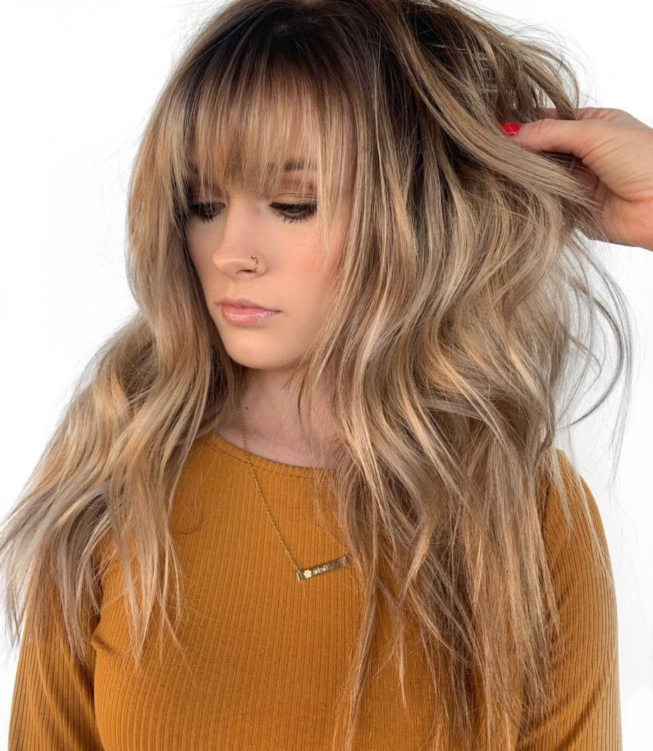 50 Cute And Effortless Long Layered Haircuts With Bangs В With 2018 Golden Bronde Razored Shag Haircuts For Long Hair (View 5 of 20)