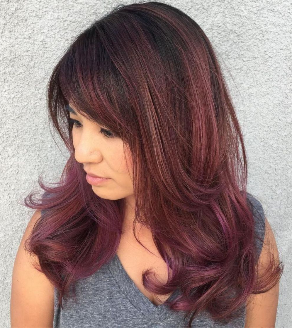 50 Cute And Effortless Long Layered Haircuts With Bangs In Intended For Vibrant Burgundy Shag Haircuts (View 7 of 20)