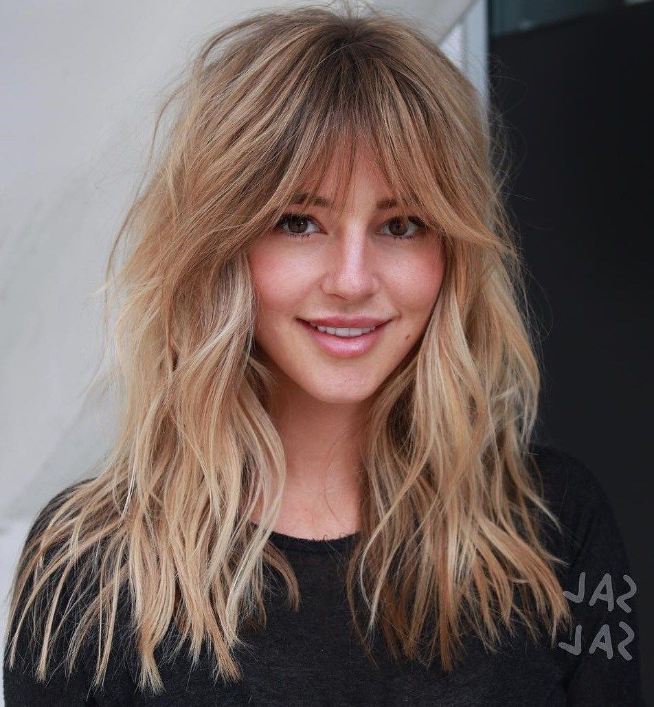 50 Cute And Effortless Long Layered Haircuts With Bangs In With Well Known Golden Bronde Razored Shag Haircuts For Long Hair (View 9 of 20)