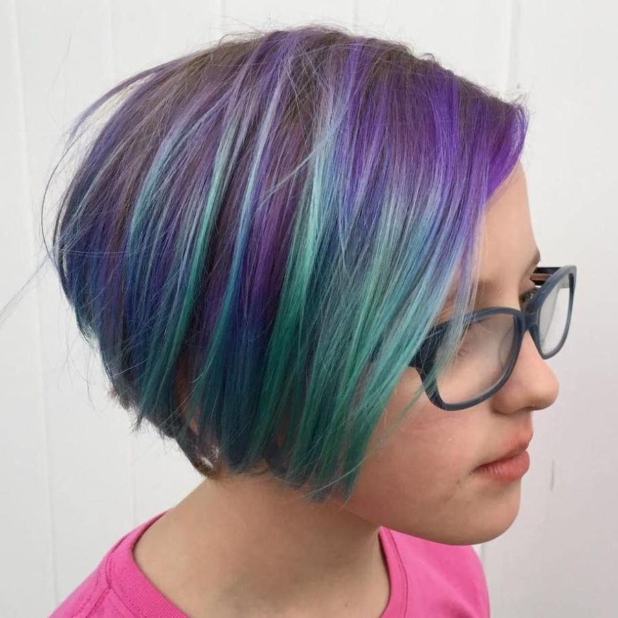 50 Cute Haircuts For Girls To Put You On Center Stage In In Purple Tinted Off Centered Bob Hairstyles (View 4 of 20)