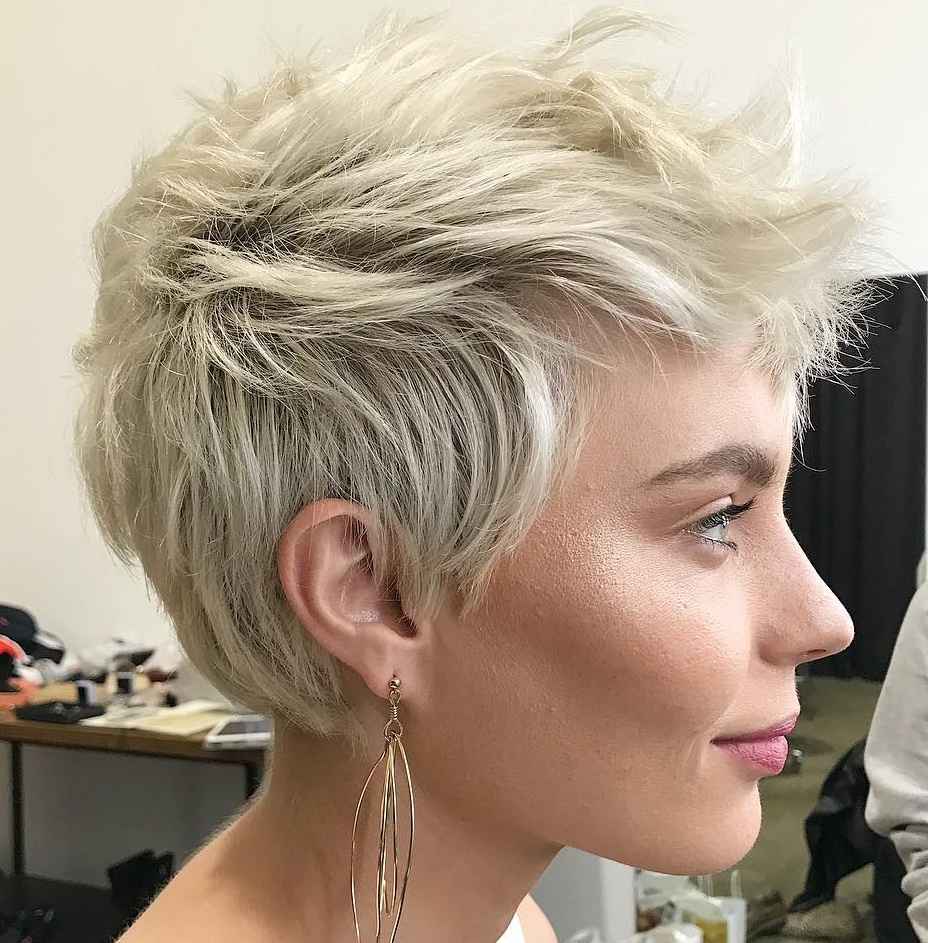 50 Hottest Pixie Cut Hairstyles In 2019 For Sophisticated Wavy Ash Blonde Pixie Bob Hairstyles (View 11 of 20)