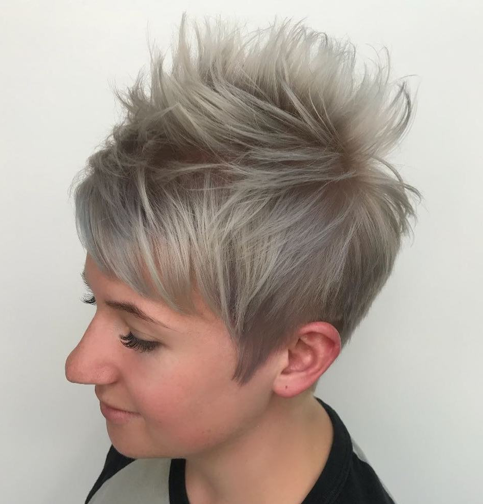 50 Hottest Pixie Cut Hairstyles In 2019 In Gray Pixie Haircuts With Messy Crown (View 7 of 20)