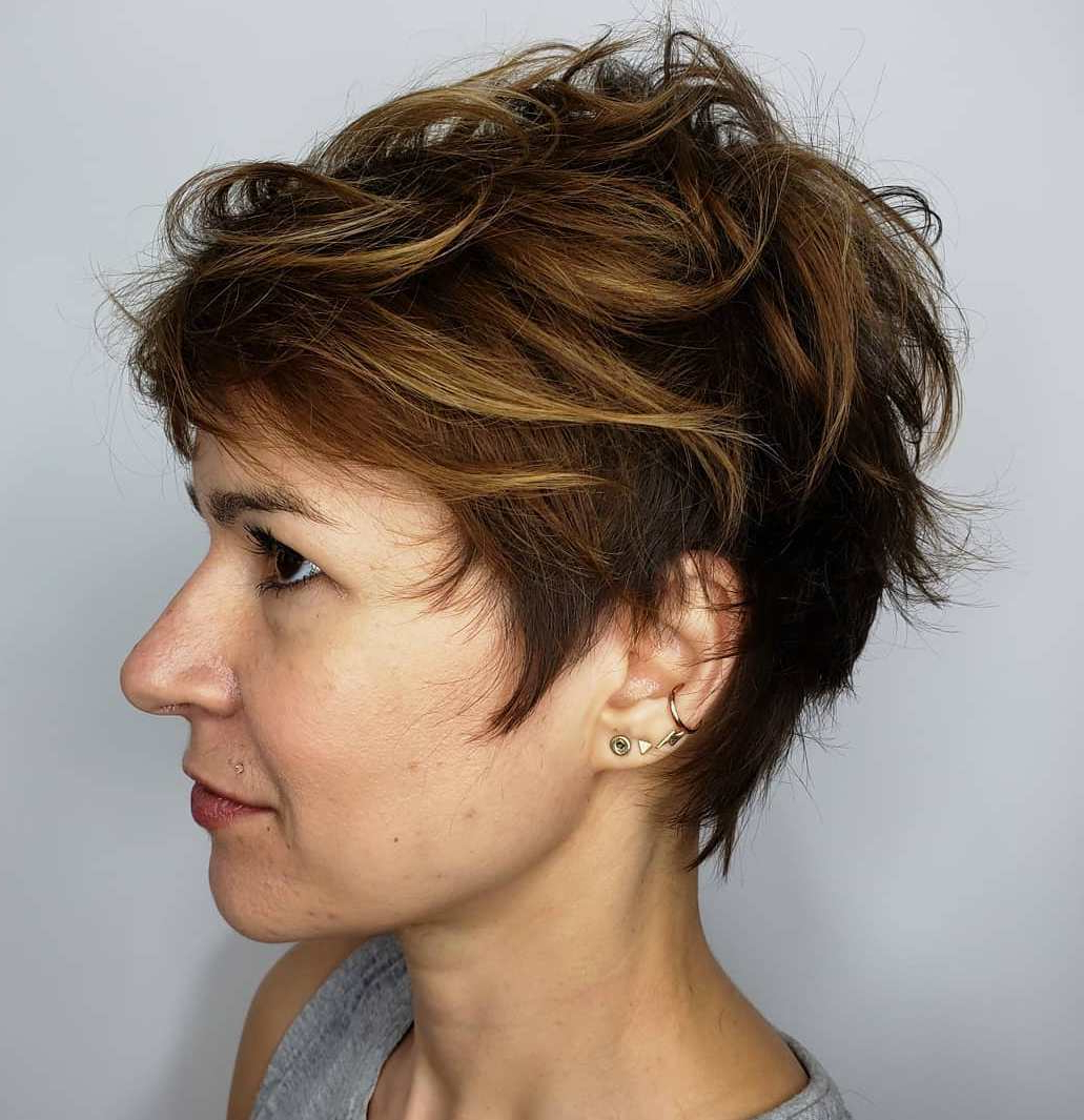 50 Hottest Pixie Cut Hairstyles In 2019 In Long Curly Pixie Haircuts With Subtle Highlights (View 5 of 20)