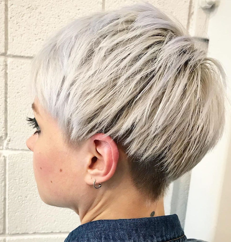 50 Hottest Pixie Cut Hairstyles In 2019 Within Edgy Ash Blonde Pixie Haircuts (View 13 of 20)