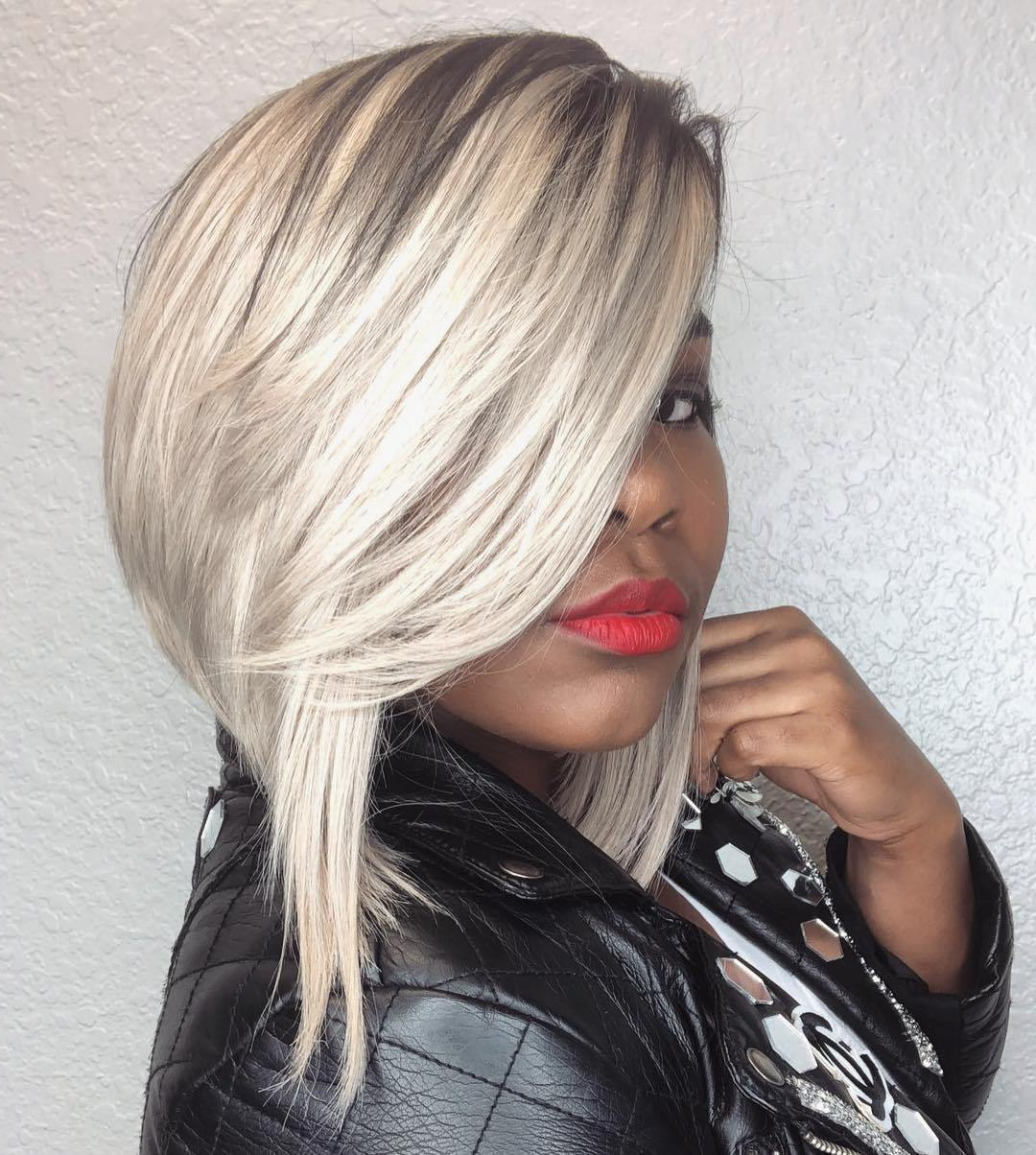 50 Impossible To Miss Bob Hairstyles For Black Women – Hair Intended For Piece Y Golden Bob Hairstyles With Silver Highlights (View 5 of 20)