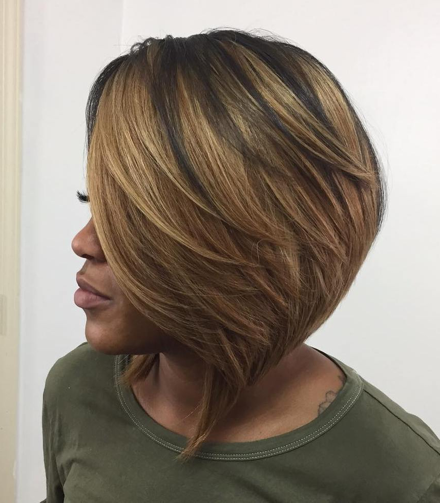 50 Impossible To Miss Bob Hairstyles For Black Women – Hair Within Best And Newest Feathered Golden Brown Bob Hairstyles (View 4 of 20)