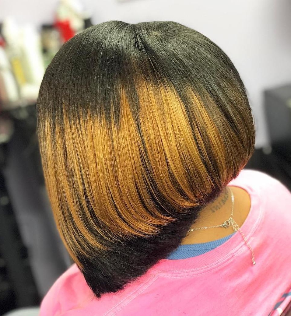 50 Impossible To Miss Bob Hairstyles For Black Women – Hair Within Piece Y Golden Bob Hairstyles With Silver Highlights (View 15 of 20)