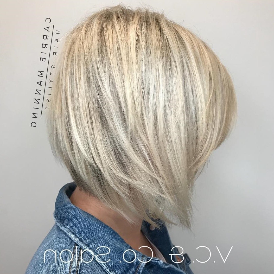 50 Inverted Bob Haircuts That Are Uber Fashionable – Hair With Recent Sliced Platinum Blonde Bob Hairstyles (View 13 of 20)